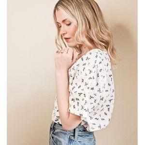 90s White & Black Linen Short Sleeve Floral Top